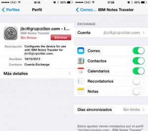 Notes Traveler iPhone Perfil y Correo